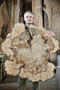 Caucasian man factory worker holding a sawn cross section of a  tree trunk in a woodworking factoryの写真素材 [FYI02262738]