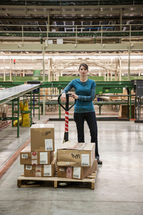 A Caucasian female warehouse worker in a distribution warehouse.の写真素材 [FYI02262789]