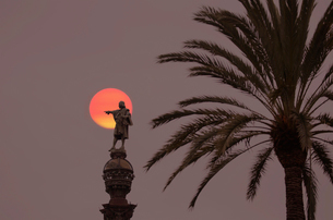 Palm tree and statue of male figure on plinth with full moon behind, twilight.の写真素材 [FYI02263072]