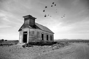 Exterior view of abandoned wooden chapel in remote area, flock of birds in cloudy sky.の写真素材 [FYI02263168]