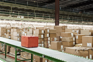 Conveyor belt system and cardboard boxes of products in a distribution warehouse.の写真素材 [FYI02263236]