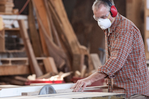 Caucasian man factory worker wearing hearing protection and a nose dust mask while cutting wood on aの写真素材 [FYI02263470]