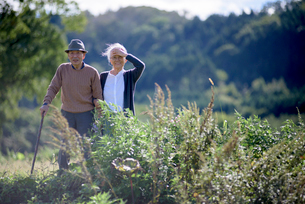 Husband and wife, elderly man wearing hat and using walking stick and elderly woman walking along paの写真素材 [FYI02263510]