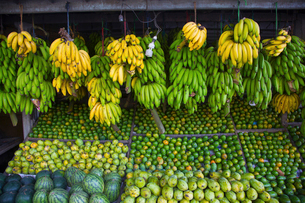 Outdoor market scene, close up of market stall with selection of green fruits, including bananas, maの写真素材 [FYI02263709]