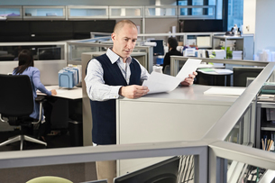 Caucasian male going over paperwork in office cubicles.の写真素材 [FYI02263804]