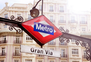 Close up of enamel sign at entrance to Gran Via Station, Madrid, Spain.の写真素材 [FYI02263971]