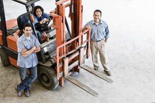 Mixed race team of workers and management person at a landscape company.の写真素材 [FYI02263995]