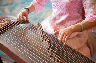 High angle close up of woman playing traditional Japanese Koto string instrument.の写真素材 [FYI02264043]