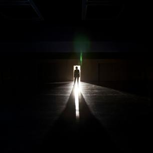 Businesswoman standing in the open doorway of a convention centre arena.の写真素材 [FYI02264149]