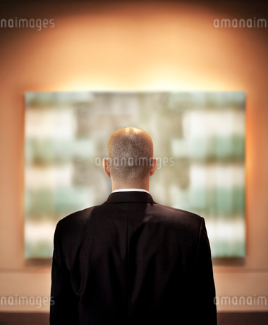 View from behind of a businessman looking at a piece of art in a gallery.の写真素材 [FYI02264620]