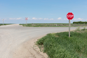 Stop sign and railroad crossing along rural road,の写真素材 [FYI02264675]