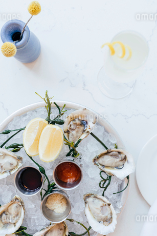 Platter of oysters on ice with lemons and saucesの写真素材 [FYI02264681]
