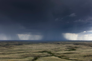 Dark storm clouds of over Grasslands National Park, Saskatchewan, Canada.の写真素材 [FYI02264764]