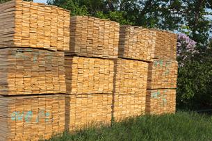 Piles of cut lumber, Eastend, Saskatchewan, Canada.の写真素材 [FYI02264779]