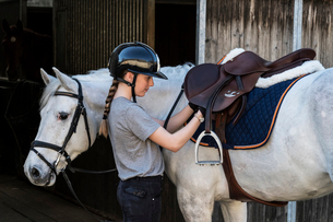 Teenage girl horse rider with a grey horse outside a stable, adjusting the girth and saddle.の写真素材 [FYI02264818]