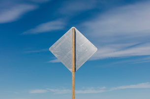 Blank side of a road sign, blue sky in backgroundの写真素材 [FYI02264847]