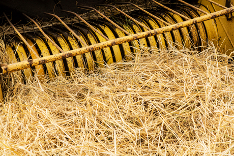 Tractor and straw baler in wheat field, high angle close up of rake and straw.の写真素材 [FYI02264979]