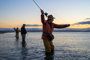 Two fly fishermen cast for searun coastal cutthroat trout and salmon with their guide standing betweの写真素材 [FYI02265151]