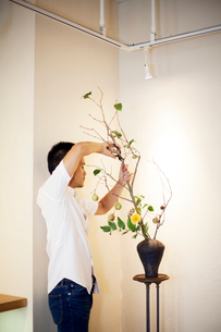 Japanese man standing in flower gallery, working on Ikebana arrangement, using secateurs.の写真素材 [FYI02265172]