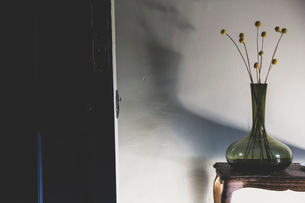 Detail of delicate dried Pineapple Flowers in green glass vase on antique wooden side table.の写真素材 [FYI02265277]