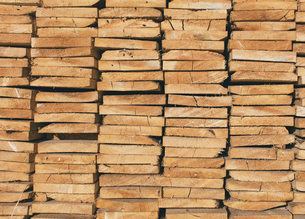 Piles of cut lumber, Eastend, Saskatchewan, Canada.の写真素材 [FYI02265328]