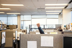 A view of cubicles in an office with a person raising their fist.の写真素材 [FYI02265487]