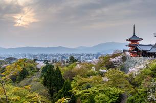 Higashiyama Fuji Yasaka pagoda with the cityscape of Kyoto in the distance,Japan.の写真素材 [FYI02265574]