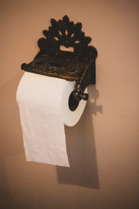 Close up of vintage metal toilet paper roll holder.の写真素材 [FYI02265678]