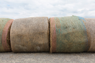 Stacked hay bales after the harvest, winter fodder for animals..の写真素材 [FYI02265688]