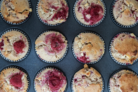 High angle close up of raspberry and white chocolate muffins in a baking tray.の写真素材 [FYI02265794]