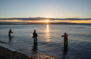 Two fly fishermen cast for searun coastal cutthroat trout and salmon at sunrise with their guide staの写真素材 [FYI02265822]