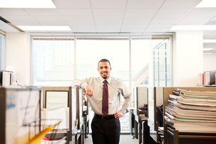 A portrait of a young Black businessman in his corporate office.の写真素材 [FYI02265919]