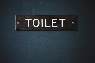 Close up of dark brown toilet sign with white lettering on blue door.の写真素材 [FYI02266102]