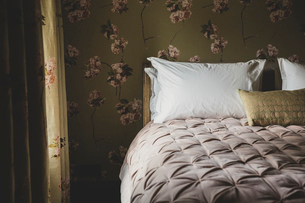 Interior view of bedroom with curtains and wallpaper with floral pattern, pale pink quilt and whiteの写真素材 [FYI02266197]