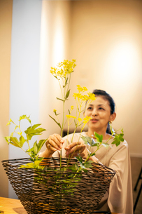 Japanese woman standing in flower gallery, working on Ikebana arrangement.の写真素材 [FYI02266427]