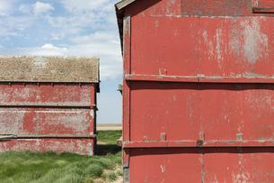 Old farm outbuildings on prairie,の写真素材 [FYI02266447]