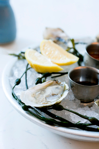 Platter of oysters on ice with lemons and saucesの写真素材 [FYI02266448]