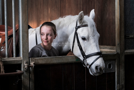 Teenage girl horse rider with a grey horse outside a stable, adjusting the girth and saddle.の写真素材 [FYI02266516]