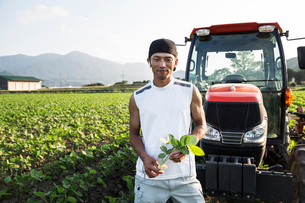 Japanese farmer standing in front of red tractor in a soy bean field, looking at camera.の写真素材 [FYI02266590]