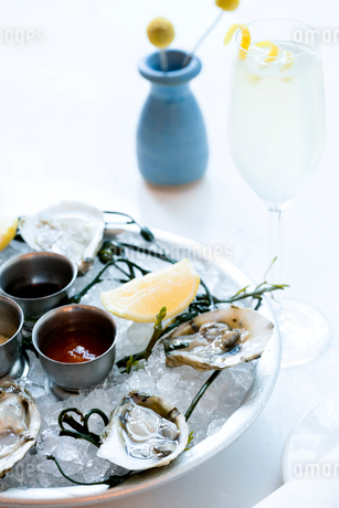 Platter of oysters on ice with lemons and saucesの写真素材 [FYI02266686]