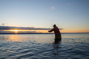 A silhouette view of a fly fisherman casting for salmon and searun coastal cutthroat trout from a saの写真素材 [FYI02266797]