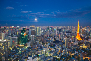 ライトアップされた東京タワーと都心の街並の写真素材 [FYI02270751]