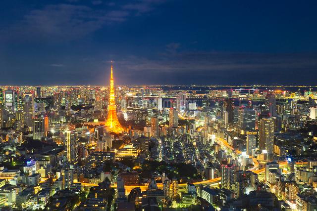 ライトアップされた東京タワーと都心の街並の写真素材 [FYI02270839]