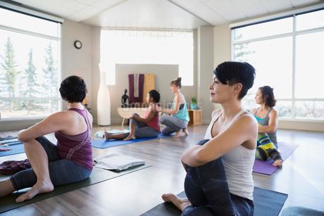 Women practicing seated twist pose in yoga classの写真素材 [FYI02271814]