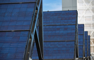 Solar panels in a rowの写真素材 [FYI02272460]