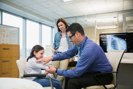 Pediatrician examining girls arm in clinic officeの写真素材 [FYI02274035]