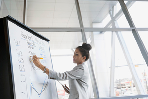 Businesswoman writing on whiteboard in conference roomの写真素材 [FYI02275544]