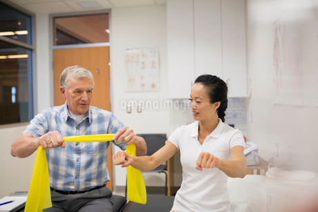 Physical therapist guiding patient with resistance bandの写真素材 [FYI02276020]