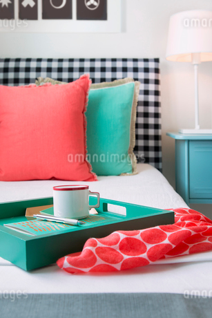 Coral and seafoam green decor on bedの写真素材 [FYI02276176]