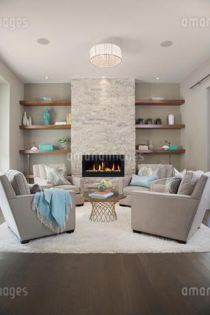 Elegant living room with fireplaceの写真素材 [FYI02276418]
